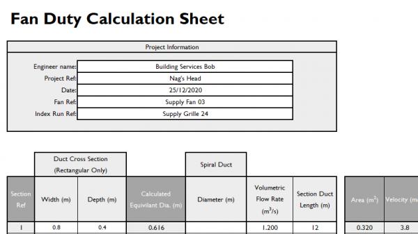 fan sizing sheet project information zoom